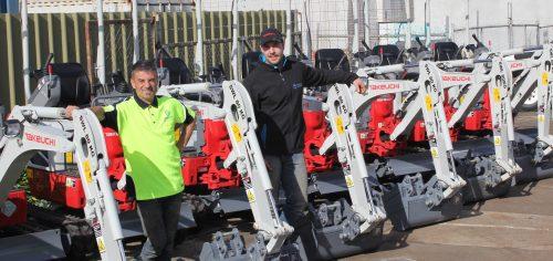 Photo: VT Group's Tony Condello (left) and Andrew Milani with the new fleet of Takeuchi®TB210R mini excavators.